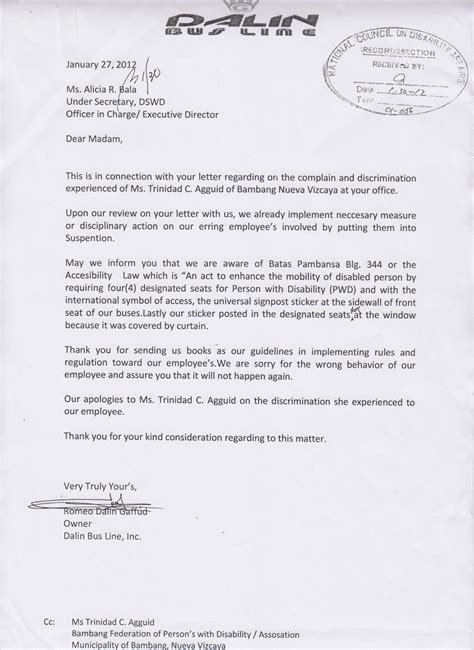 Complaint Letter Sle In The Philippines Programs Management Division National Council On Disability Affairs
