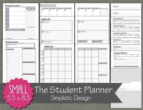 x small printable budget planner set sized 3 75x6 75 student planner printable set sized small 5 5 x