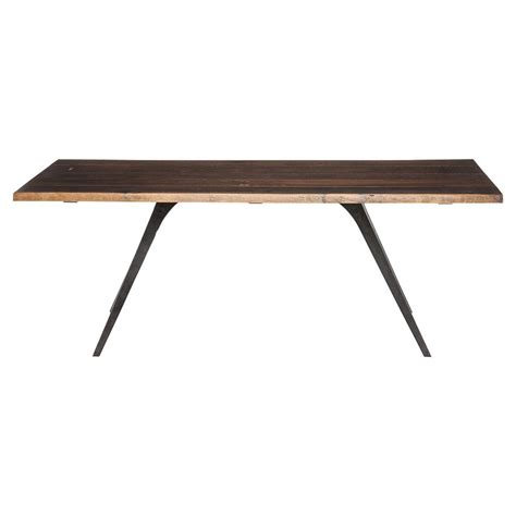raine rustic lodge oak black dining table 82 75w kathy