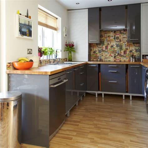 glossy grey and wood kitchen kitchen decorating