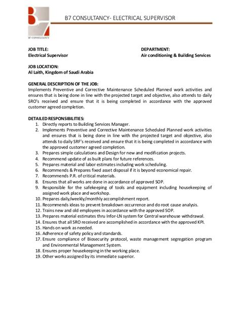 electrical supervisor resume sle 28 supervisor description resume pin supervisor resume