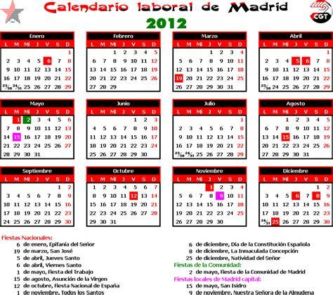 calendario escolar y laboral fete ugt madrid calendario laboral madrid cgt jardineria madrid