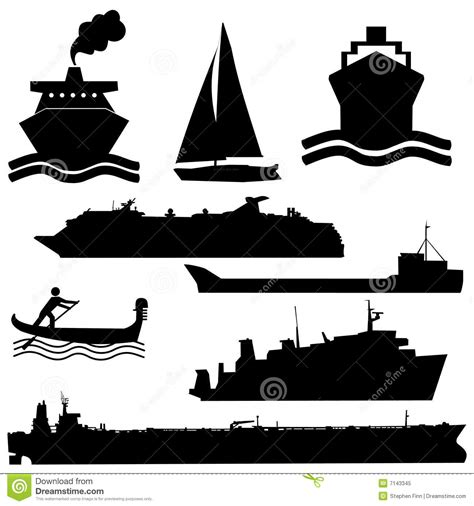 assorted boat silhouettes stock vector image of boat