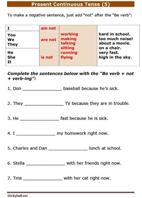 pattern for present continuous tense esl grammar worksheets present continuous tense 5