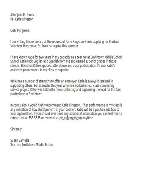High School Community Service Letter Template exles of community service recommendation letters