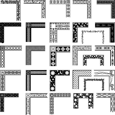 pattern with frame black and white pattern frame corners 03 vector free