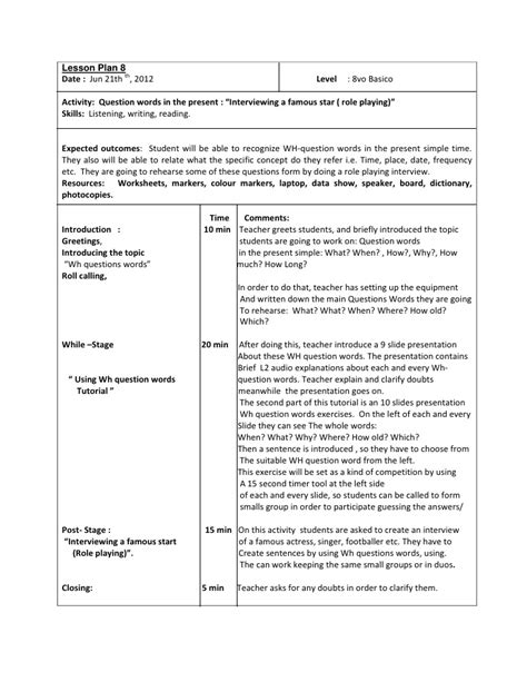 lesson plan 10 octavo past simple tense lesson plan 8 octavo basico question words in the present