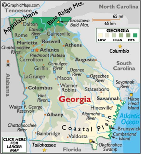 map of georgia and landforms and land statistics hills