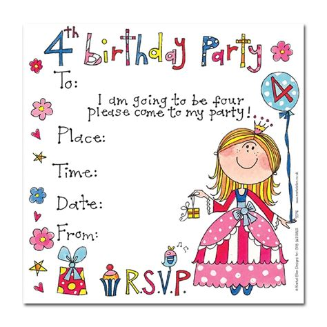 Invitation Fourth Birthday Card Templates 4th birthday princess invitation cards invitations
