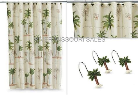 palm tree shower curtain hooks tropical paradise palm tree beach fabric shower curtain