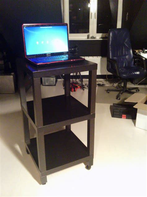Ikea Lack Standing Desk Standing Workplace Lack Side Table Rolling Dirt Cheap Ikea Hackers Ikea Hackers