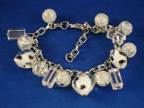 Clear Stained Glass & Heart Charms, Silver Tone Metal Bracelet, European Fashion Jewelry