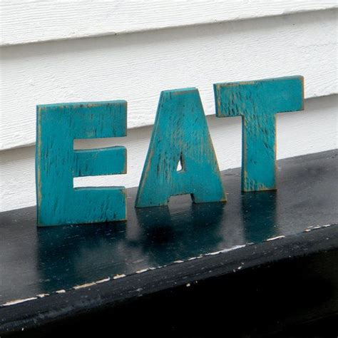 eat word sign gulf blue wood letters kitchen sign