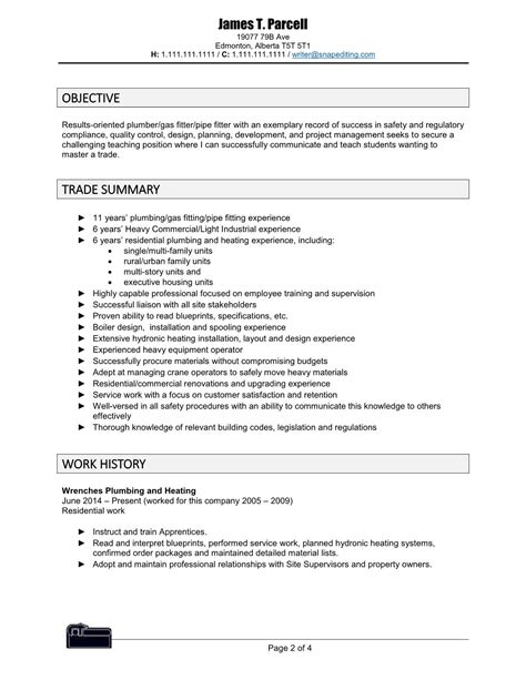 pipefitter resume sle gallery creawizard