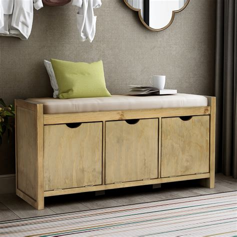 storage bench   cubbies removable seat cushion