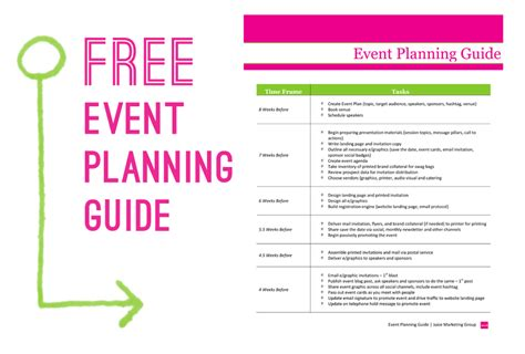 free event planning template via juice marketing
