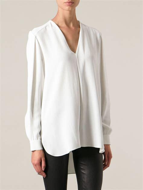 Blouse Top Vneck Shelye lyst joseph vneck blouse in white