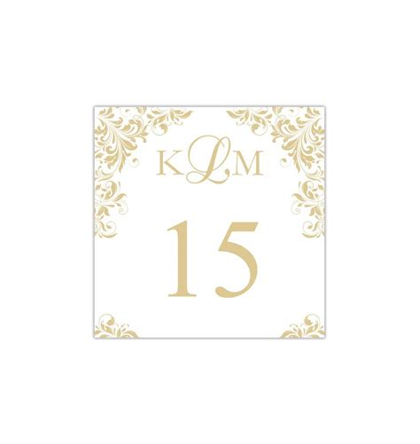 Wedding Table Number Cards Templates by Printable Table Number Template Gold Chagne Tent