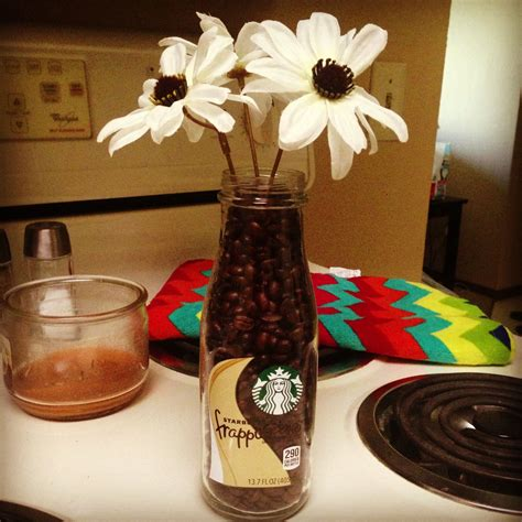 coffee themed home decor starbucks bottle with coffee beans with some simple