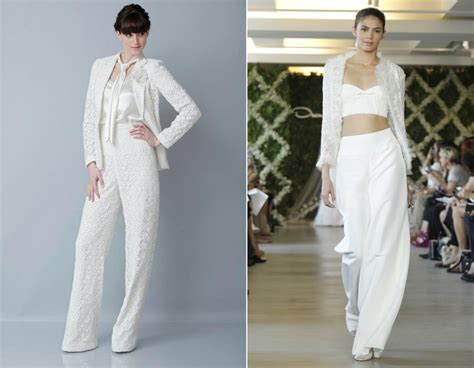 2013 wedding dress trends bridal pants suit   OneWed.com