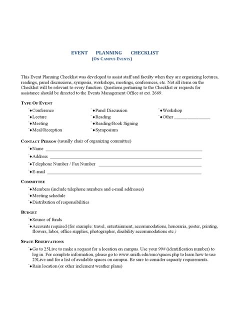 event planning checklist template 2 free templates in