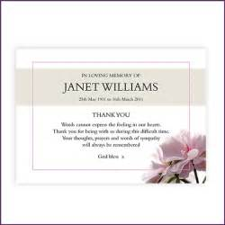 memorial thank you card from sprinter memorial cards keepsakes of your loved ones to treasure