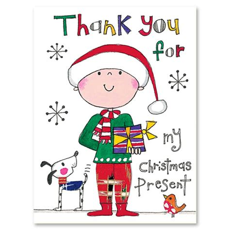 christmas boy with dog thank you cards gifts party