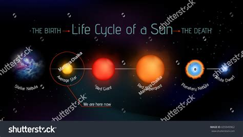 the life cycle of our sun vector illustration stages sun life cycle stock vector