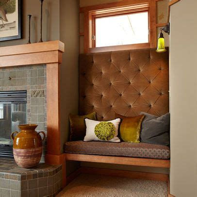 tufted bench seating   side  fireplace