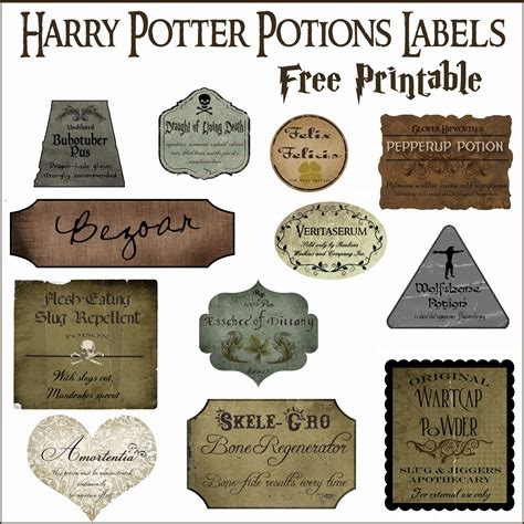 Free Printable Potion Labels harry potter potion label printables