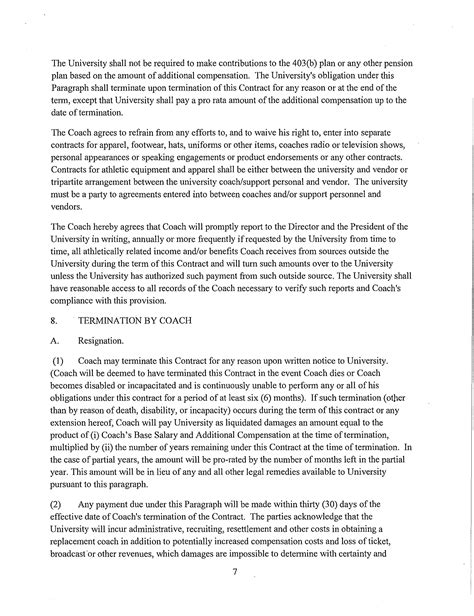 Employment Contract Penn State University Free Download Pro Rata Rights Agreement Template