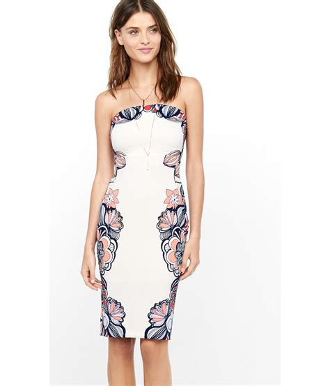 Dress Lyka 01 Pink lyst express pink strapless placed floral print dress in white