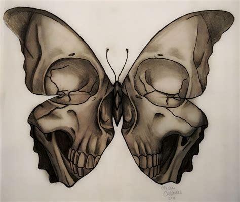skull butterfly rose tattoo medusa illustration skull butterfly design