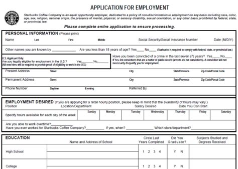 printable job application for hooters starbucks job application form pdf printable job application