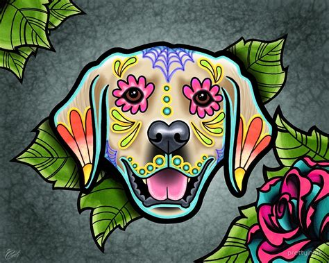 Weird Wall Clocks by Quot Day Of The Dead Golden Retriever Sugar Skull Dog Quot By