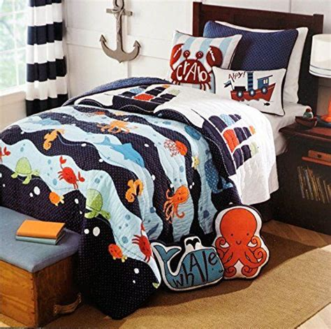 Size Quilts For Boys by Max Studio Size Quilt Toddler Bedding Reversible Nautical Sailboat Ship Sea
