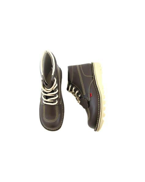 Kickers S P Brown kickers kick hi boots in leather chocolate brown 0