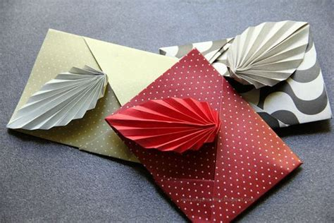 Origami Leaf Envelope - leaves origami and cards on