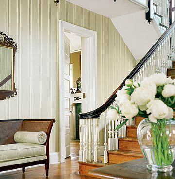 entryway wallpaper pinterest striped wallpaper in an entry way dark stained rail