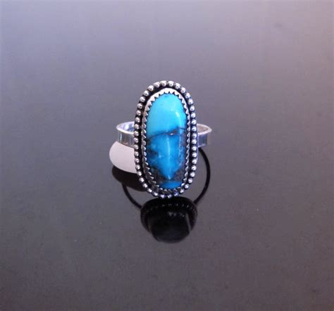 genuine turquoise ring sterling silver turquoise ring
