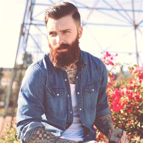 red beard tattoo thick beard and mustache auburn beards bearded