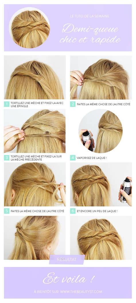 coiffure une demi queue chic  rapide tutoriel photo
