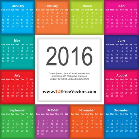 Free Download Colorful Calendar 2016 Printable Template Vector Illustration Can Be Used For Adobe Illustrator Calendar Template