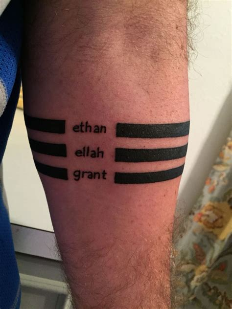 children name tattoos for men forearm bands with my children s names thanks