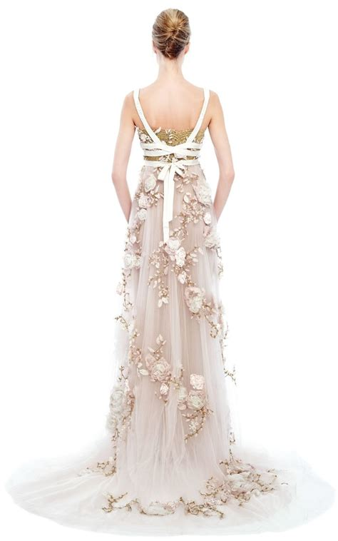 Im Back And Obsessed With Marchesa by 3d Silk Ribbon Empire Waist Gown By Marchesa For