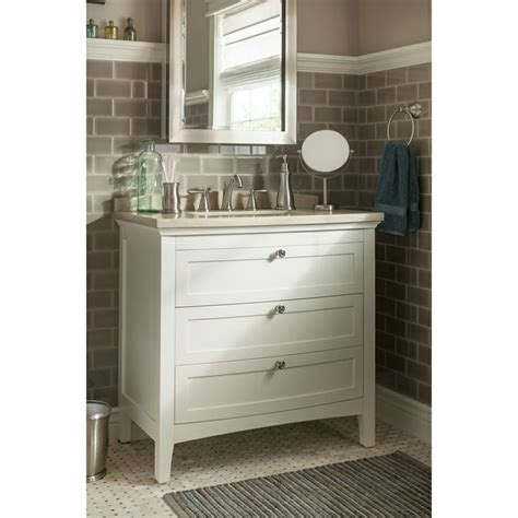 bathroom vanity tops lowes shop allen roth norbury 36 in x 22 in white with