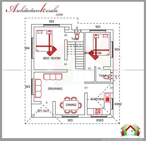 house plan drawings 2 bedroom house estimate cost under 15 lakhs