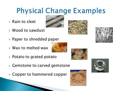 exle of physical change chemistry changing matter ppt