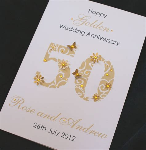 Handmade 50th Wedding Anniversary Cards - large handmade personalised 50th golden wedding