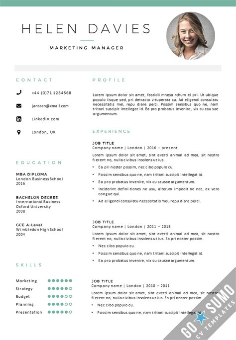 resume format with photo cv template cv cover letter template in word